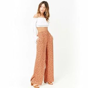 [Forever 21] Floral 'Smocked' Palazzo Pants Sz. L